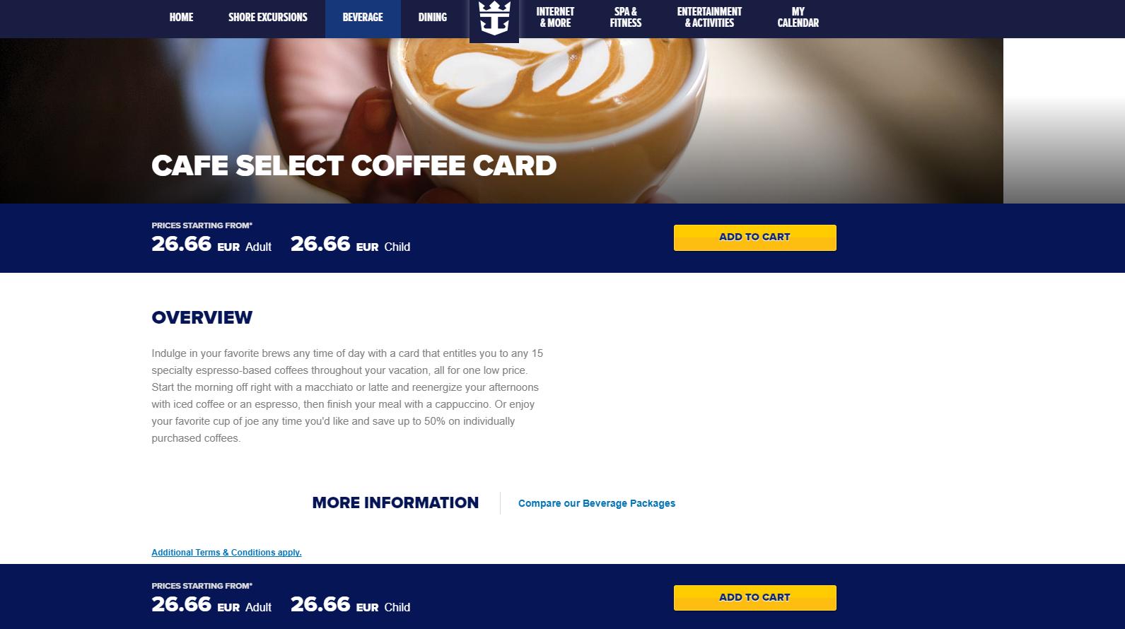 Cafe Select Coffee Card Royal Caribbean Dining Royal Caribbean Blog