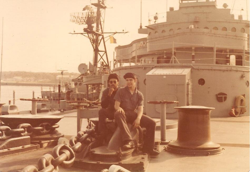On the forcastle U.S.S. Yosemite (AD-19) 1976.jpg