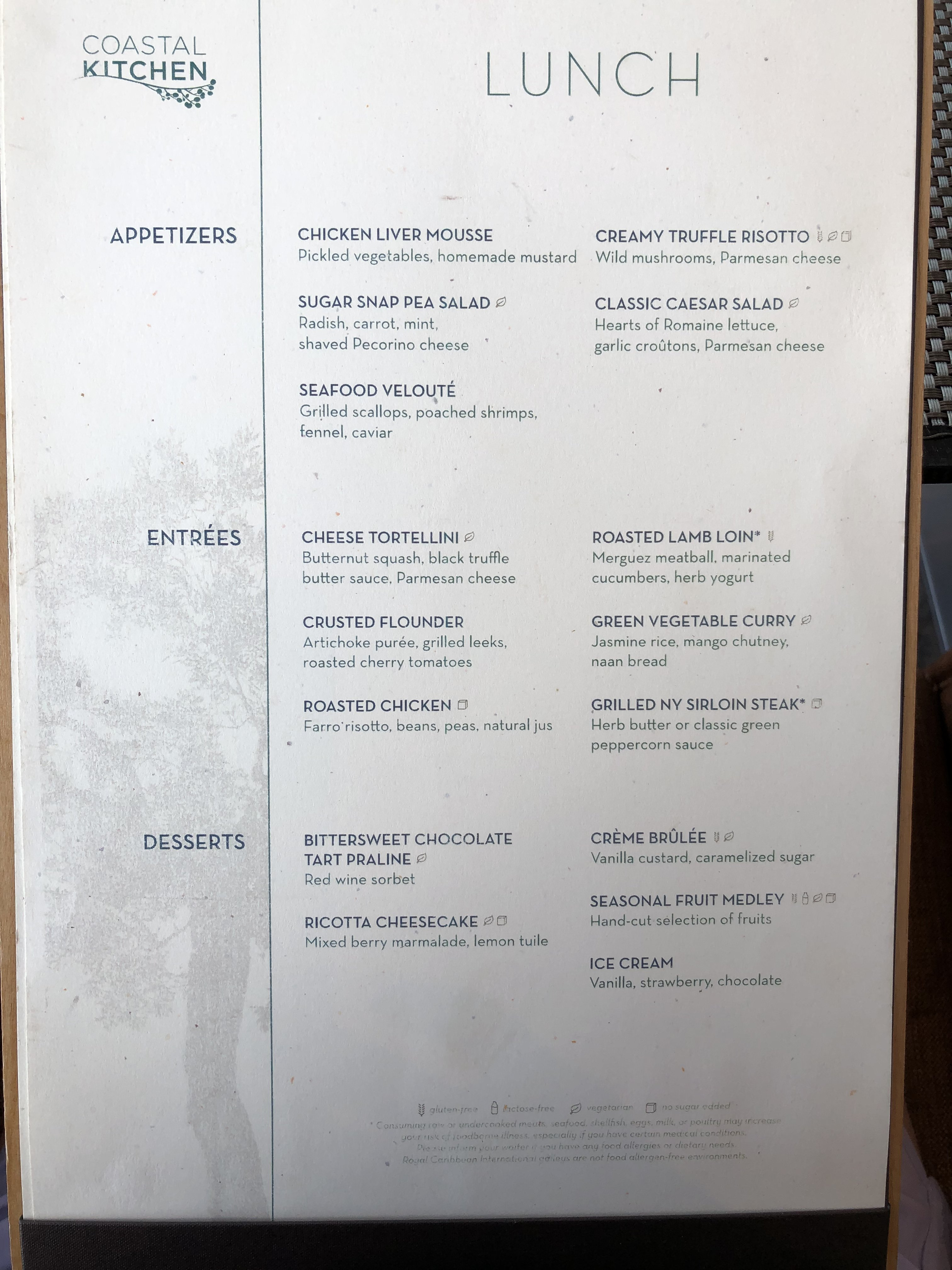 anthem of the seas coastal kitchen menu