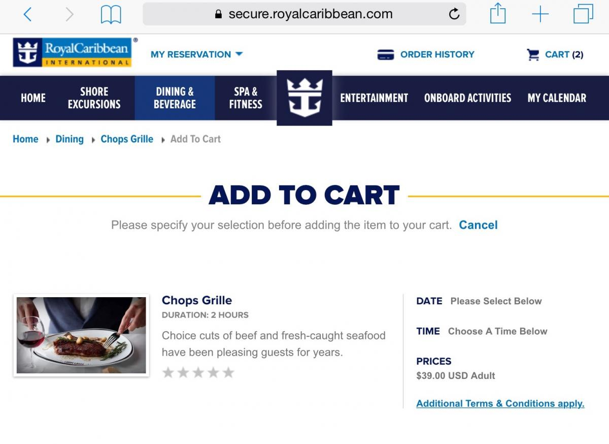 Chops grille royal caribbean blog the price increase appears to have been made on oasis of the seas although an upcoming quantum of the seas cruise still lists the 35 cover charge falaconquin