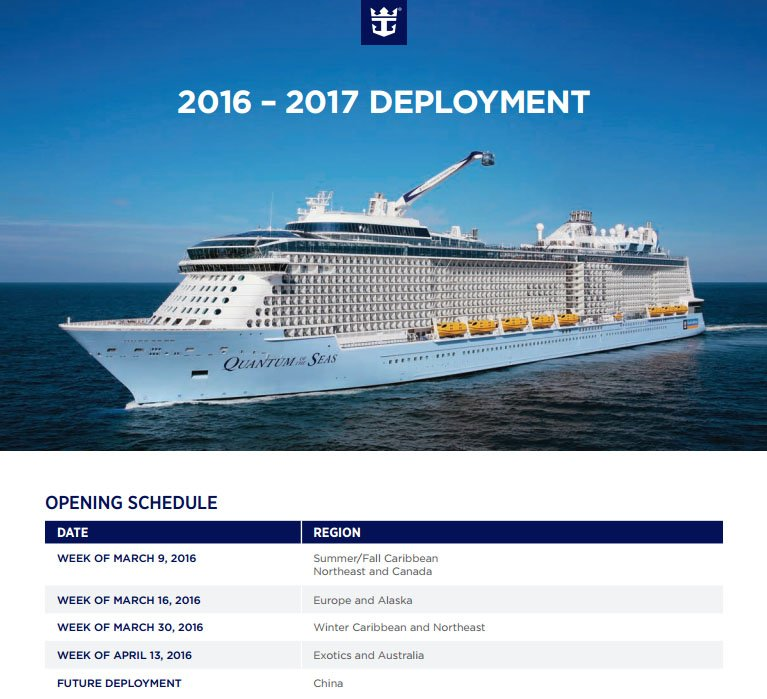 Royal Caribbean 20162017 Deployment Opening Schedule