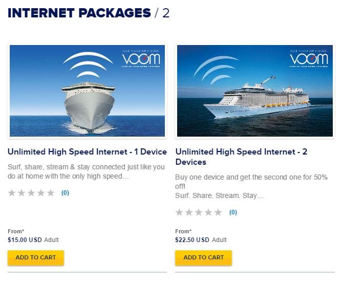 Royal Caribbean begins selling onboard internet packages ...