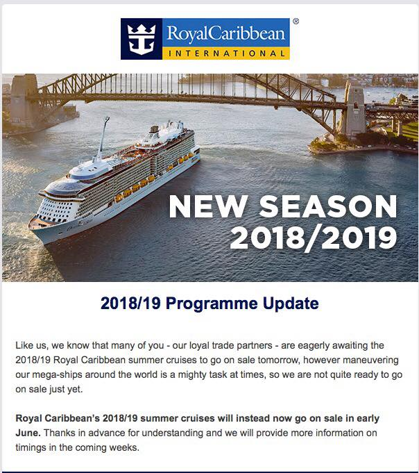 Royal Caribbean pushes back opening 2018-2019 Australia ...