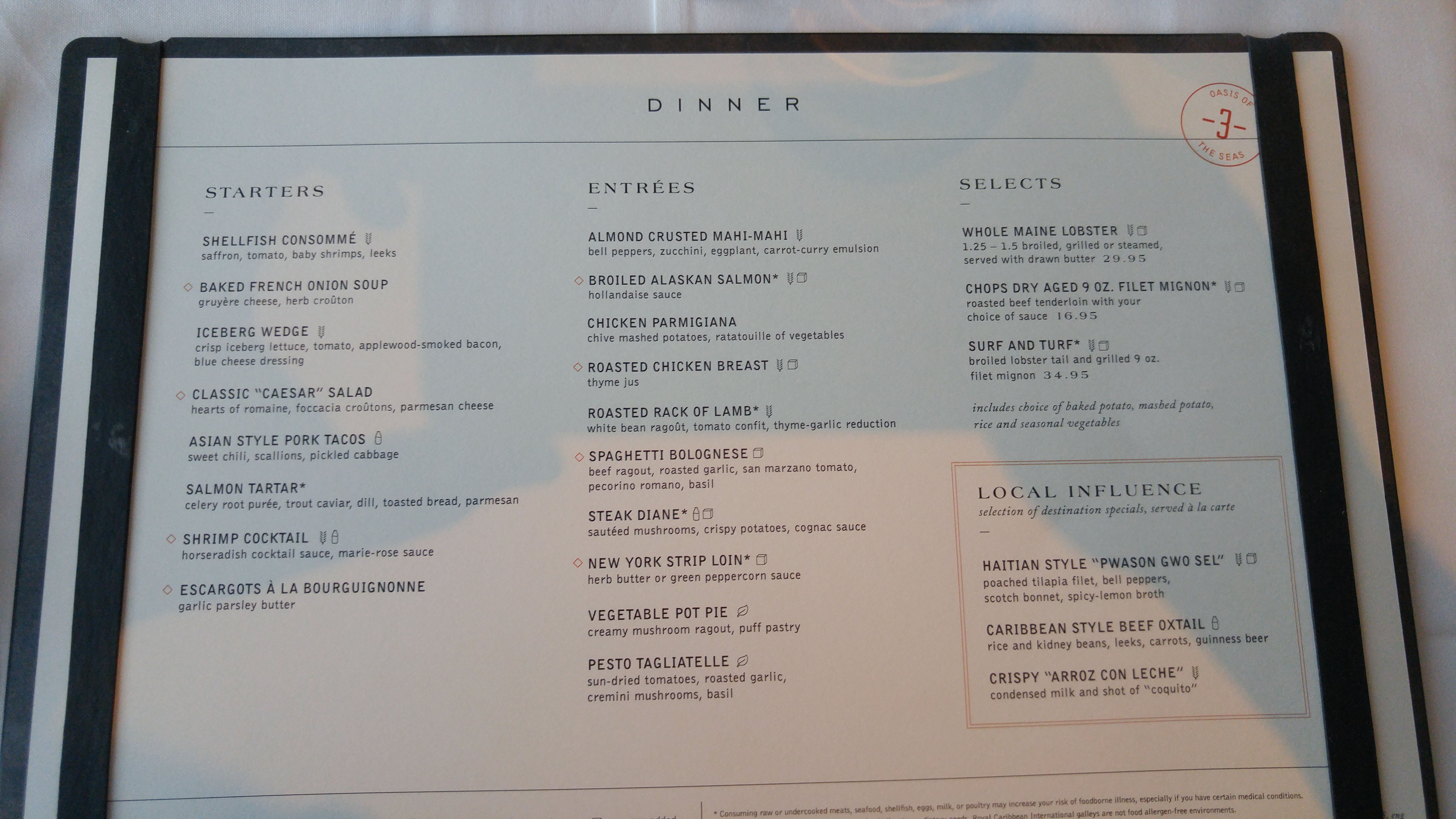 Mariner Of The Seas Main Dining Room Menu