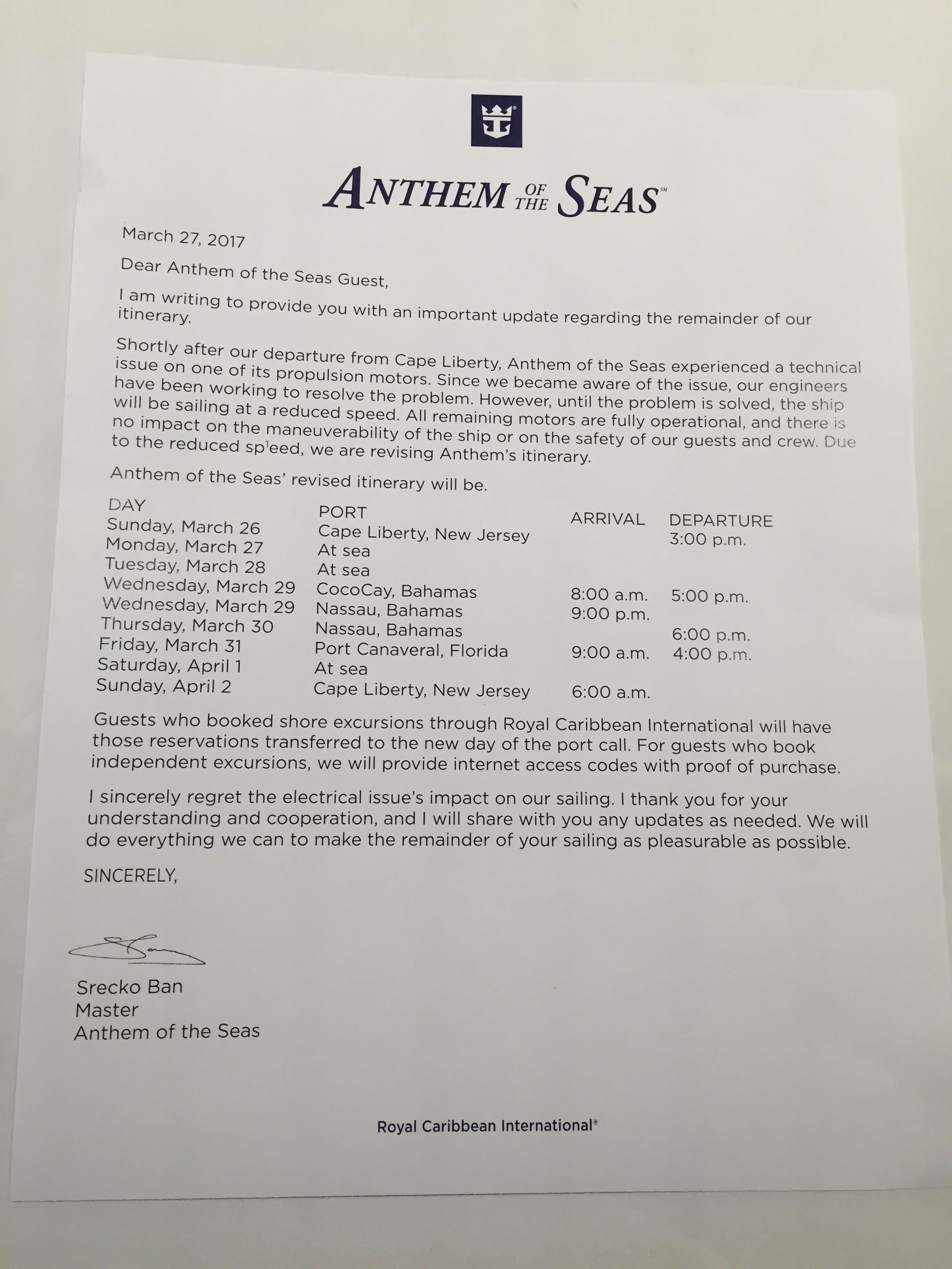 Propulsion Problem On Royal Caribbeans Anthem Of The Seas Forces - Anthem of the seas itinerary