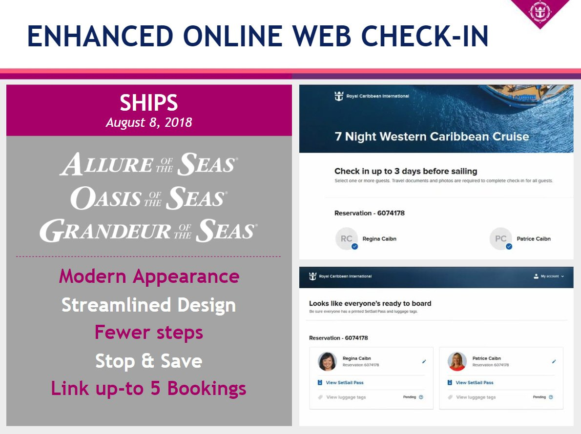 Royal Caribbean provides smart phone app and online check-in