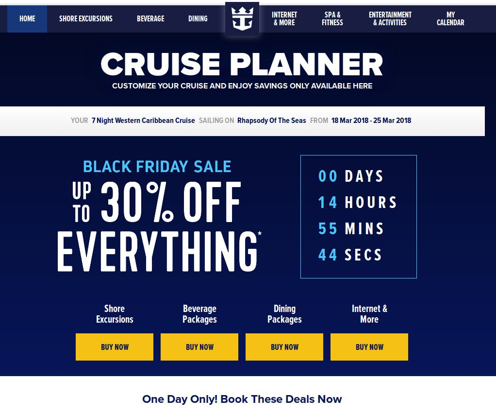 royal caribbean offering one day only black friday deals on pre