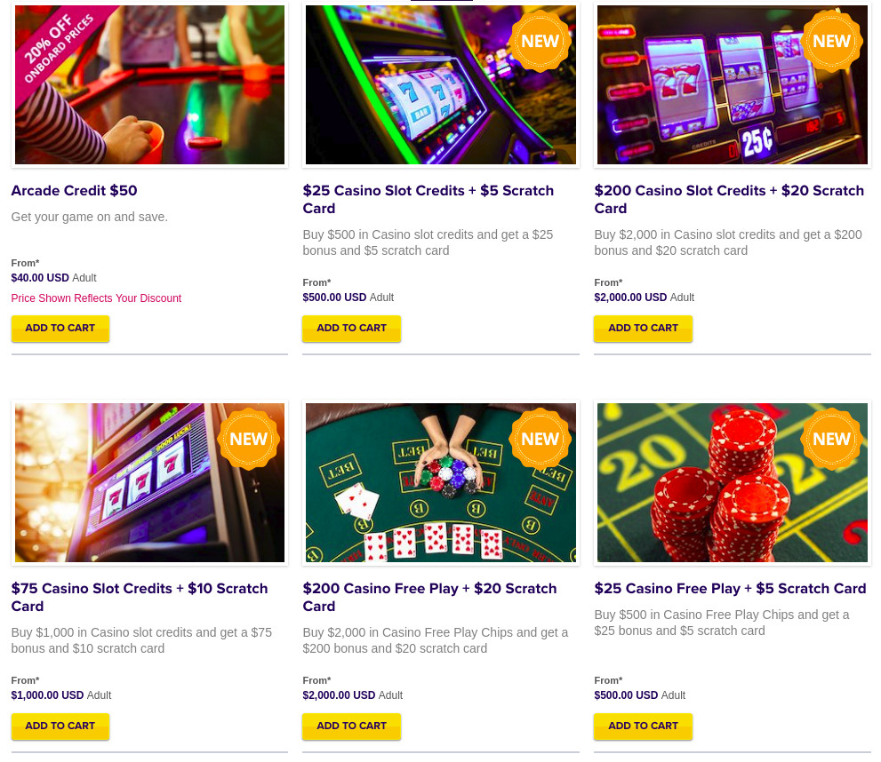 spotted casino and slot play credits for pre cruise purchase