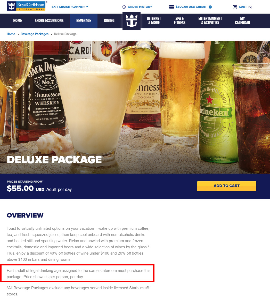 Royal Caribbean Requiring All Adults In Same Stateroom To Purchase - Drinking age on a cruise ship