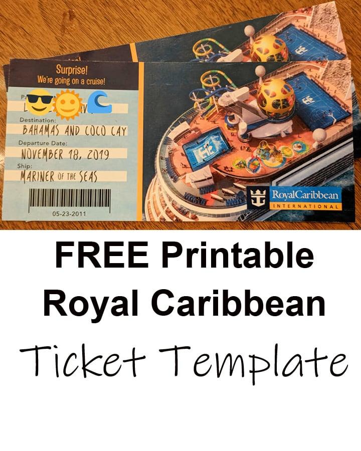 Free printable surprise Royal Caribbean cruise ticket