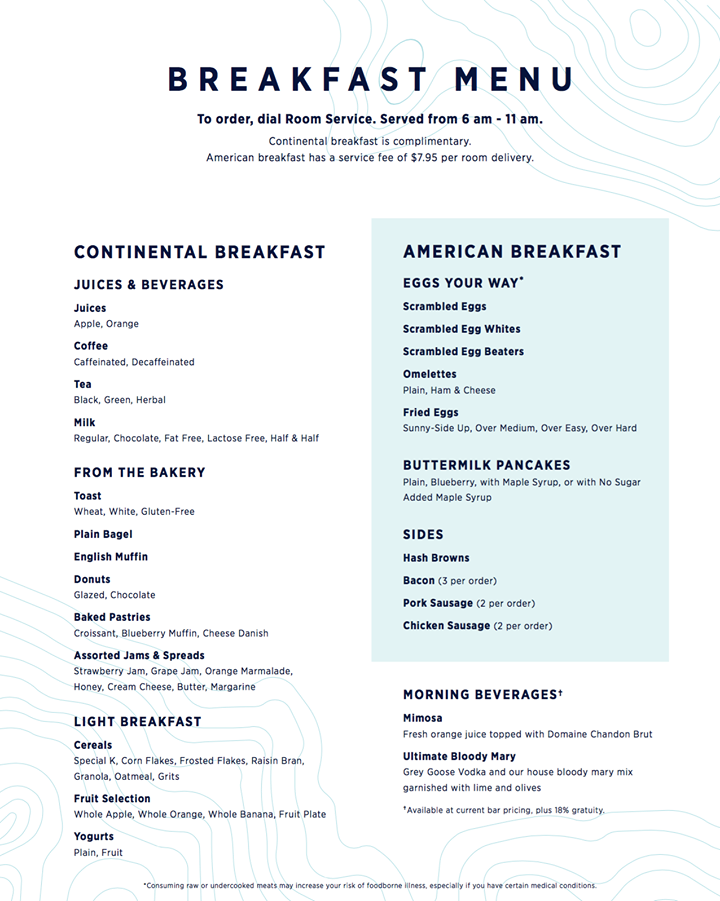 Celebrity cruise sample room service menu