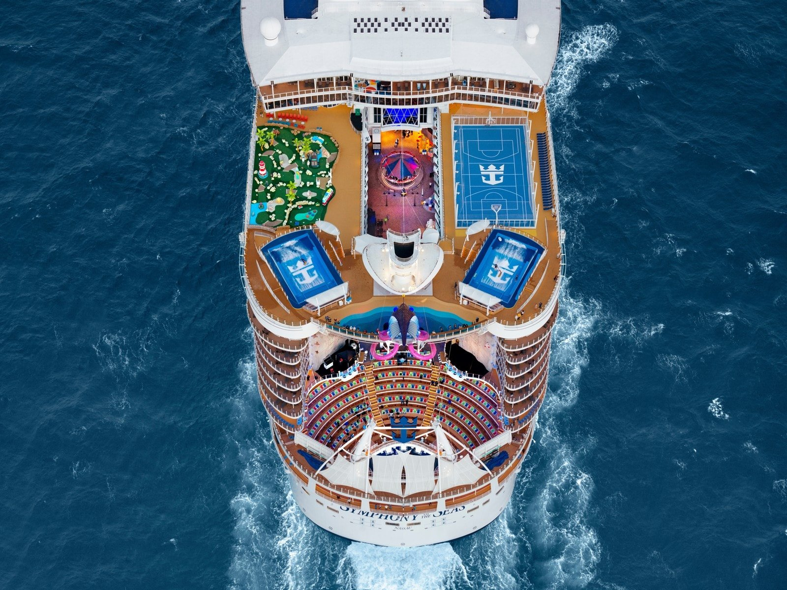 Sports deck aerial photo of Symphony of the Seas