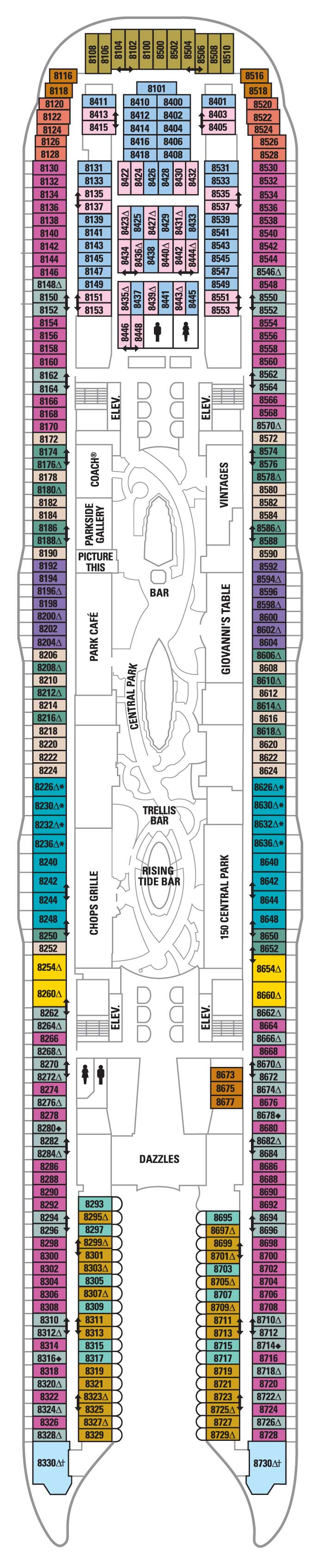 Deck 8  Allure of the Seas Deck Plans  Royal Caribbean Blog