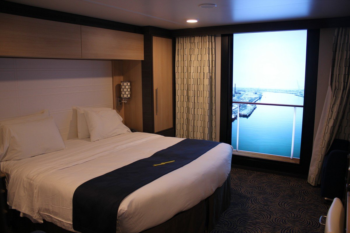 Photo tour of category l large interior stateroom with for Balcony view on cruise