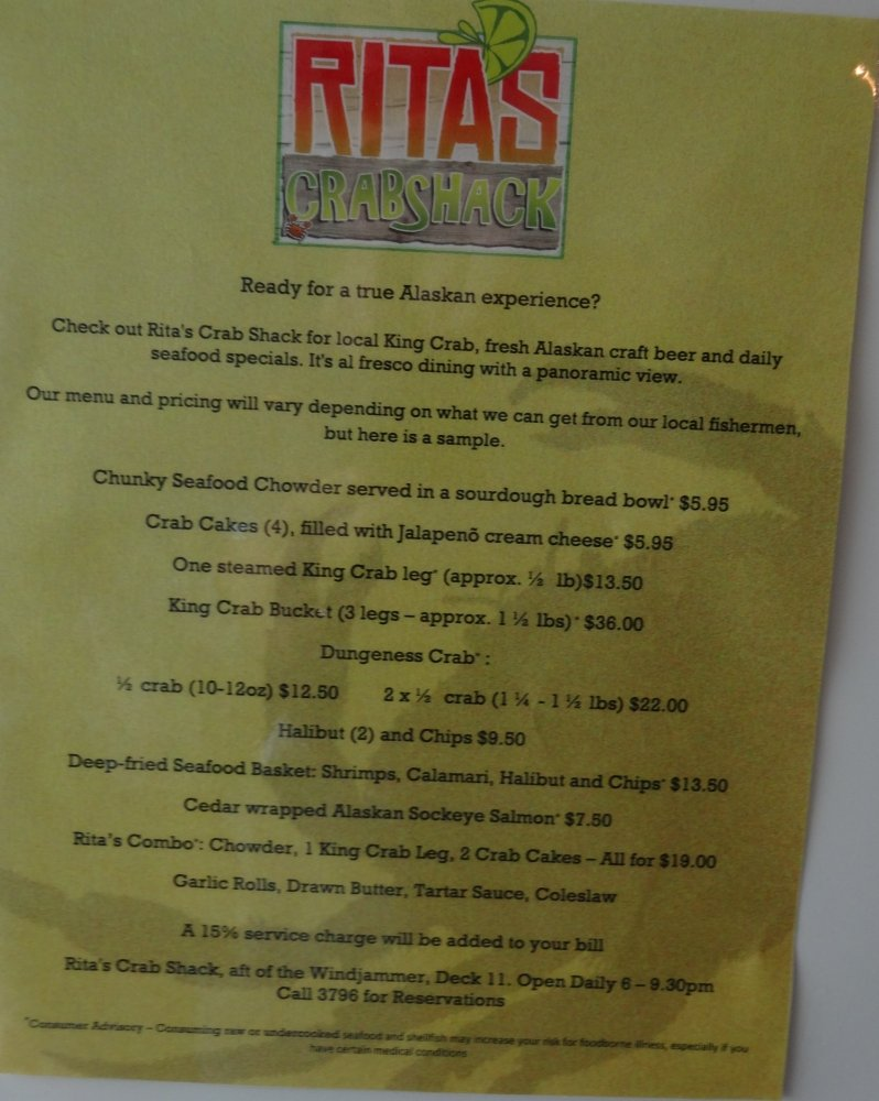 Rita 39 s cantina becomes rita 39 s crabshack on radiance of the for Craft kings wv menu