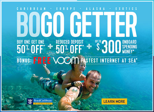 BOGO deals -- typically buy one get one free or half price -- are a particular favorite of Royal Caribbean, though other lines might use this lure as well. The hook is that if you buy one cruise.