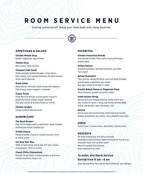 Royal Caribbean Shares New Fleet Wide Room Service Menu