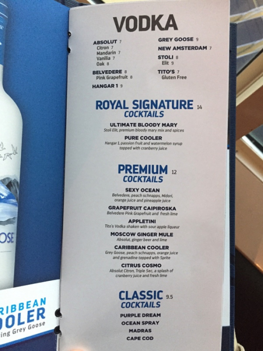 Spotted New Royal Caribbean Drink Menu Design Royal